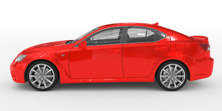car isolated on white - red paint, transparent glass - left side view - 3d rendering