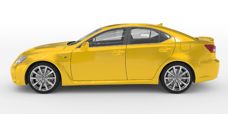 car isolated on white - yellow paint, transparent glass - left side view - 3d rendering Stock Photo