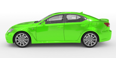 car isolated on white - green paint, transparent glass - left side view - 3d rendering Stock Photo