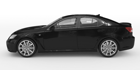 car isolated on white - black paint, transparent glass - left side view - 3d rendering