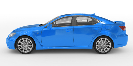 car isolated on white - blue paint, transparent glass - left side view - 3d rendering Stock Photo