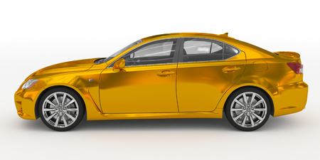 car isolated on white - golden, transparent glass - left side view - 3d rendering