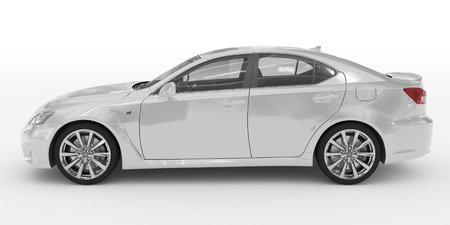 car isolated on white - white paint, transparent glass - left side view - 3d rendering