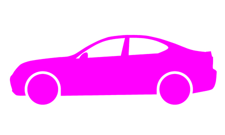 Car symbol icon - purple, 2d, isolated - vector illustration  イラスト・ベクター素材