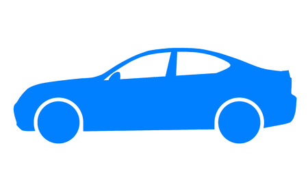 Car symbol icon - blue, 2d, isolated - vector illustration Banque d'images - 127722052