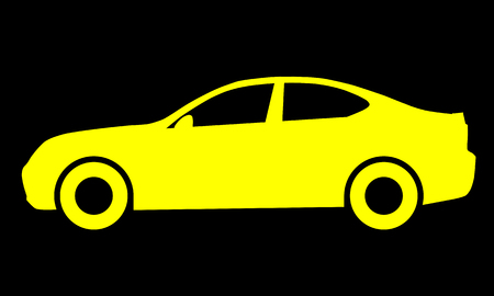 Car symbol icon - yellow, 2d, isolated - vector illustration Banque d'images - 127712846