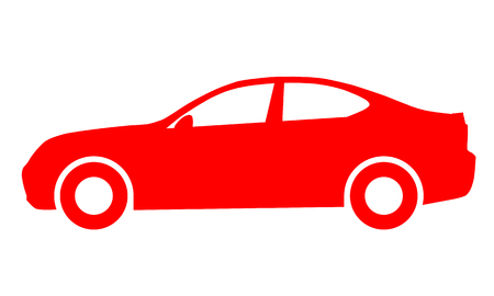 Car symbol icon - red, 2d, isolated - vector illustration  イラスト・ベクター素材