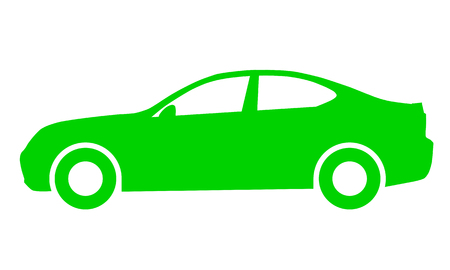 Car symbol icon - green, 2d, isolated - vector illustration