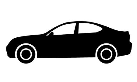 Car symbol icon - black, 2d, isolated - vector illustration