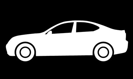 Car symbol icon - white, 2d, isolated - vector illustration Banque d'images - 127699797