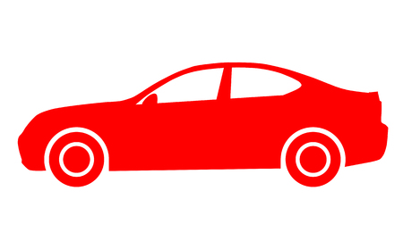 Car symbol icon - red, 2d, isolated - vector illustration Illustration