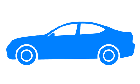 Car symbol icon - blue, 2d, isolated - vector illustration Banque d'images - 127699802