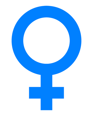 Female symbol icon - blue simple, isolated - vector illustration Ilustração