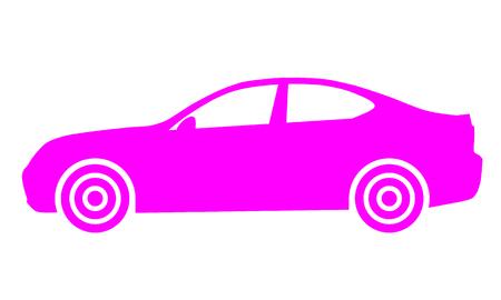 Car symbol icon - purple, 2d, isolated - vector illustration Ilustração