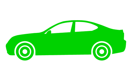 Car symbol icon - green, 2d, isolated - vector illustration Banque d'images - 127558298
