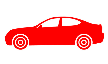 Car symbol icon - red, 2d, isolated - vector illustration Banque d'images - 127558302