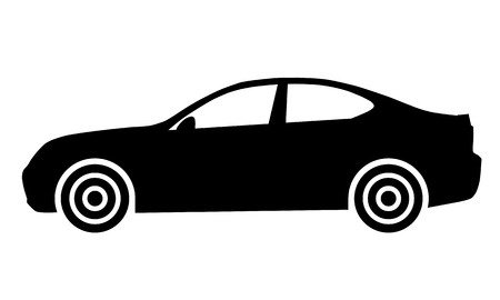 Car symbol icon - black, 2d, isolated - vector illustration Illustration