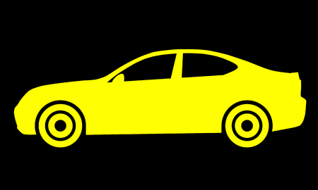 Car symbol icon - yellow, 2d, isolated - vector illustration