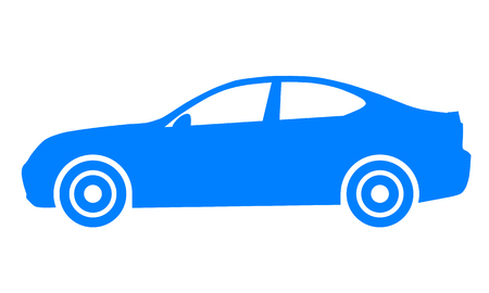 Car symbol icon - blue, 2d, isolated - vector illustration