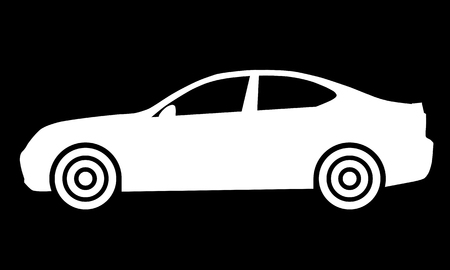 Car symbol icon - white, 2d, isolated - vector illustration