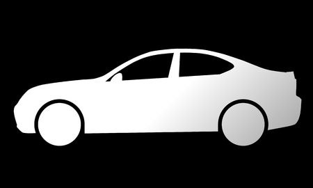 Car symbol icon - white gradient, 2d, isolated - vector illustration 向量圖像