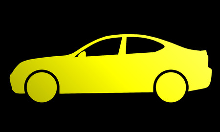 Car symbol icon - yellow gradient, 2d, isolated - vector illustration 向量圖像
