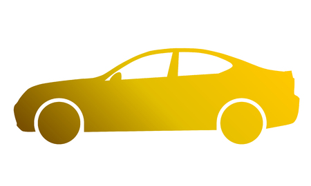 Car symbol icon - golden gradient, 2d, isolated - vector illustration