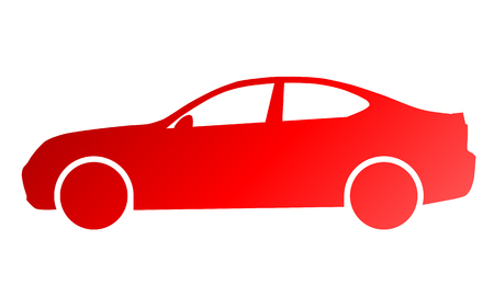 Car symbol icon - red gradient, 2d, isolated - vector illustration