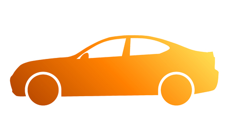 Car symbol icon - orange gradient, 2d, isolated - vector illustration