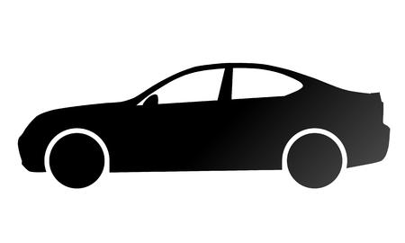 Car symbol icon - black gradient, 2d, isolated - vector illustration