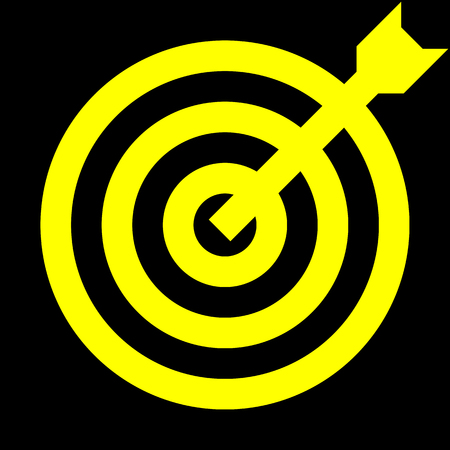 Target sign - yellow transparent with dart, isolated - vector illustration