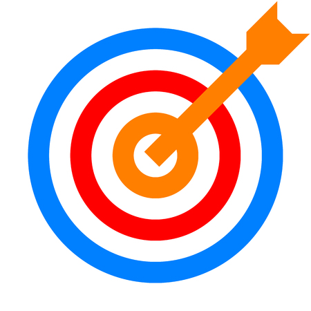 Target sign - colorful orange red blue transparent with dart, isolated - vector illustration