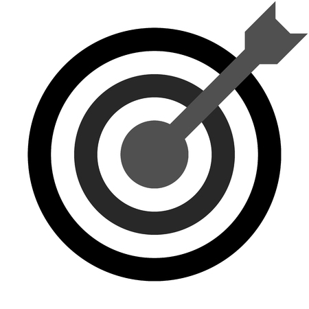 Target sign - black shades transparent with dart, isolated - vector illustration