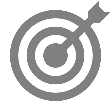 Target sign - medium gray transparent with dart, isolated - vector illustration