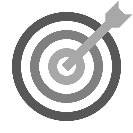 Target sign - medium gray shades transparent with dart, isolated - vector illustration 向量圖像