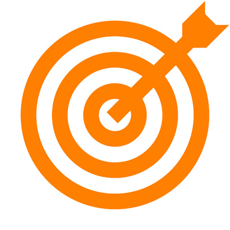 Target sign - orange transparent with dart, isolated - vector illustration