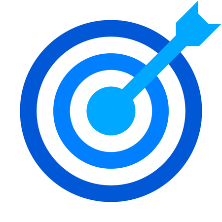 Target sign - blue shades transparent with dart, isolated - vector illustration