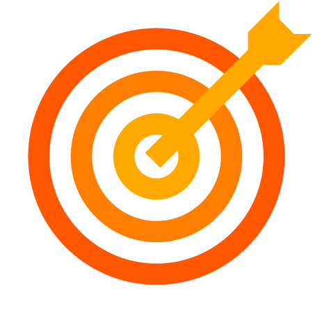 Target sign - orange shades transparent with dart, isolated - vector illustration