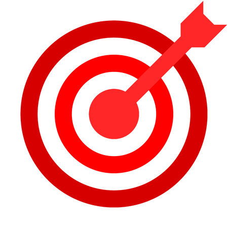 Target sign - red shades transparent with dart, isolated - vector illustration 向量圖像