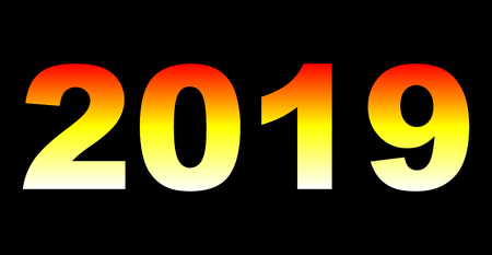year 2019 - white yellow orange red gradient, warm light, isolated numbers - vector illustration
