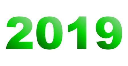 year 2019 - green gradient, isolated numbers - vector illustration