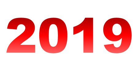year 2019 - red gradient, isolated numbers - vector illustration