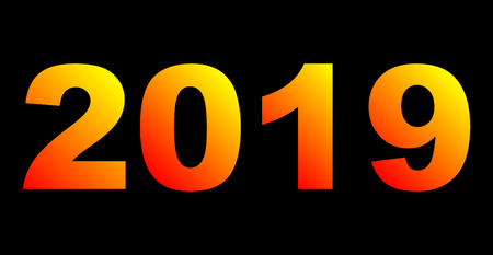 year 2019 - yellow orange red gradient, warm light, isolated numbers - vector illustration