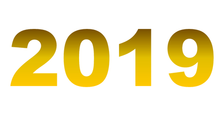 year 2019 - golden gradient, isolated numbers - vector illustration