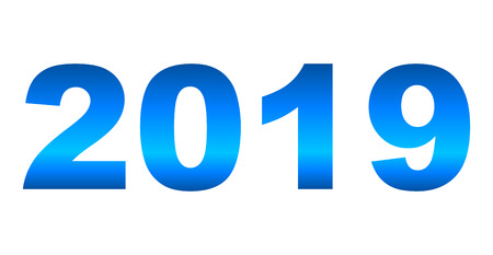 year 2019 - blue gradient reflection, isolated numbers - vector illustration 向量圖像