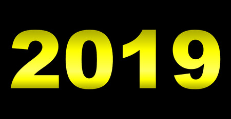 year 2019 - yellow gradient reflection, isolated numbers - vector illustration