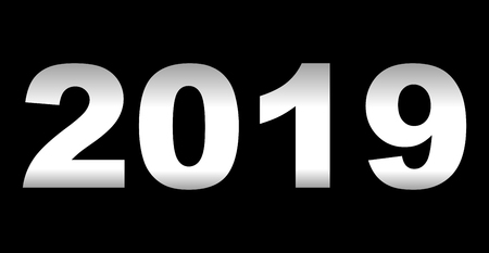 year 2019 - white gradient reflection, isolated numbers - vector illustration