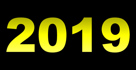year 2019 - yellow gradient, isolated numbers - vector illustration 向量圖像