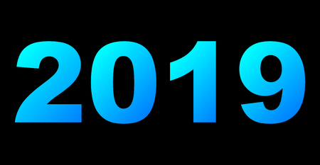 year 2019 - cyan blue gradient, cold light, isolated numbers - vector illustration
