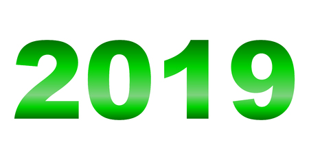 year 2019 - green gradient reflection, isolated numbers - vector illustration 向量圖像